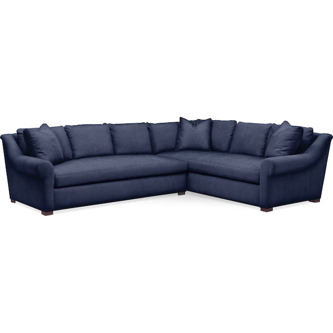 Living Room Furniture - Asher 2 Pc. Sectional with Left Arm Facing Sofa- Comfort in Oakley III Ink