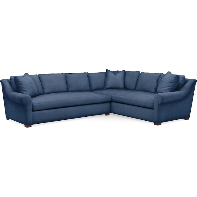 Living Room Furniture - Asher 2 Pc. Sectional with Left Arm Facing Sofa- Comfort in Hugo Indigo
