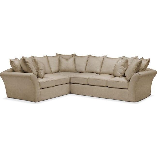Living Room Furniture - Allison 2 Pc. Sectional with Right Facing Sofa- Cumulus in Milford II Toast