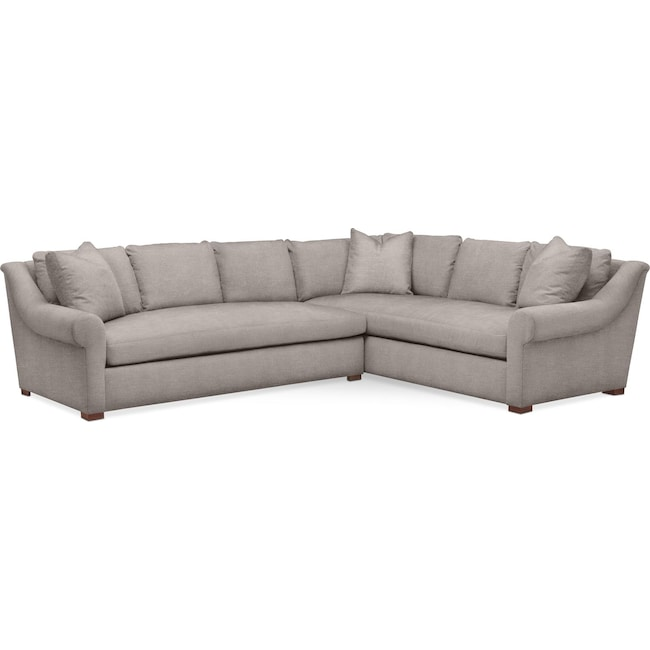 Living Room Furniture - Asher 2 Pc. Sectional with Left Arm Facing Sofa- Cumulus in Curious Silver Rine
