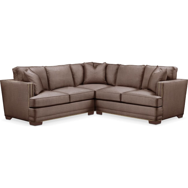 Living Room Furniture - Arden 2 Pc. Sectional with Left Arm Facing Loveseat- Cumulus in Oakley III Java