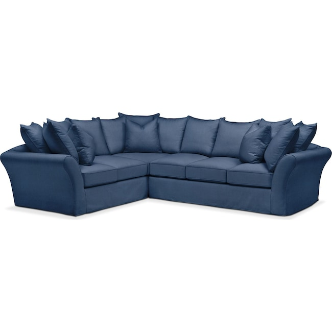Living Room Furniture - Allison 2 Pc. Sectional with Right Facing Sofa- Comfort in Hugo Indigo