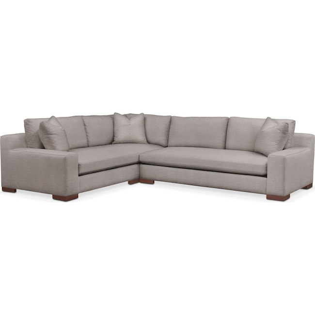Living Room Furniture - Ethan 2 Pc. Sectional with Right Arm Facing Sofa- Comfort in Curious Silver Rine