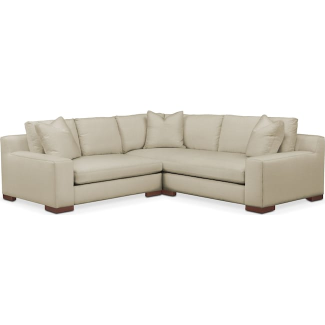 Living Room Furniture - Ethan 2 Pc. Sectional with Left Arm Facing Loveseat- Comfort in Abington TW Barley
