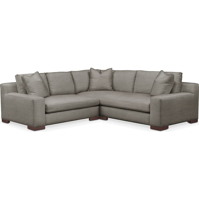 Living Room Furniture - Ethan 2 Pc. Sectional with Left Arm Facing Loveseat- Comfort in Victory Smoke