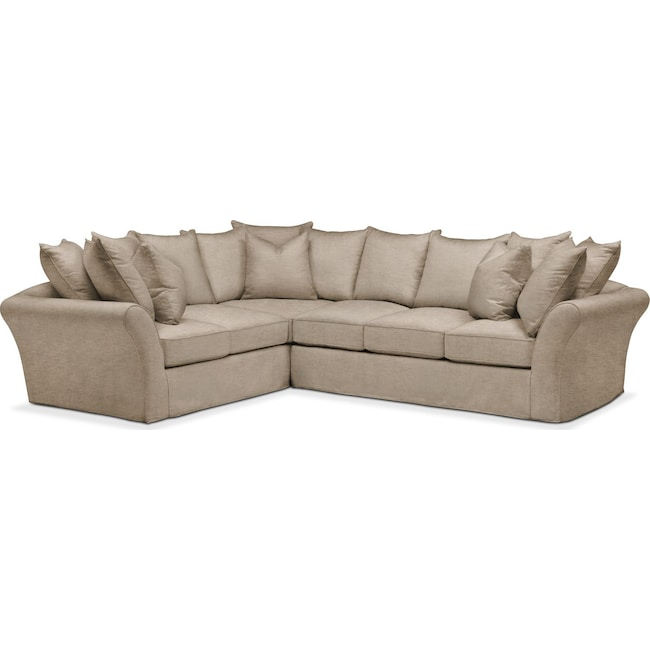 Living Room Furniture - Allison 2 Pc. Sectional with Right Facing Sofa- Comfort in Dudley Burlap