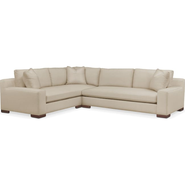 Living Room Furniture - Ethan 2 Pc. Sectional with Right Arm Facing Sofa- Comfort in Depalma Taupe
