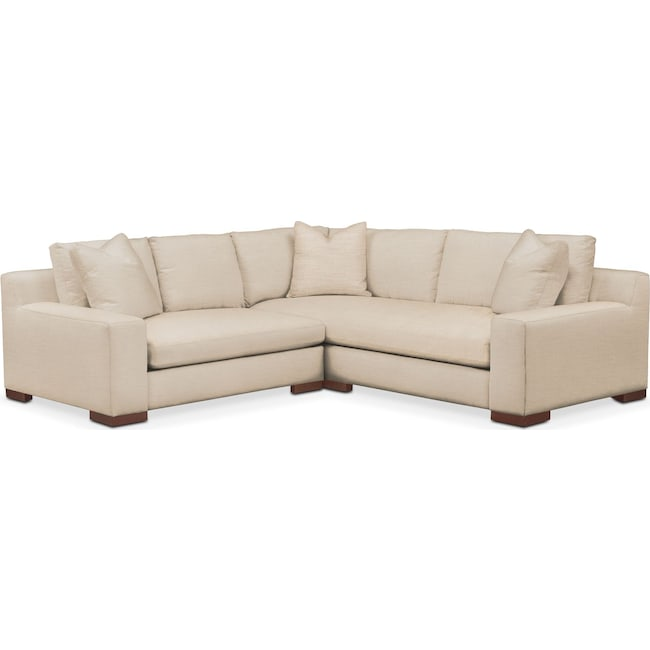 Living Room Furniture - Ethan 2 Pc. Sectional with Left Arm Facing Loveseat- Cumulus in Victory Ivory