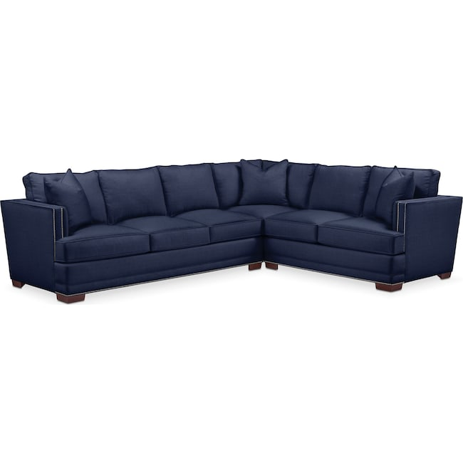 Living Room Furniture - Arden 2-Piece Sectional with Left-Facing Sofa - Cumulus in Oakley III Ink