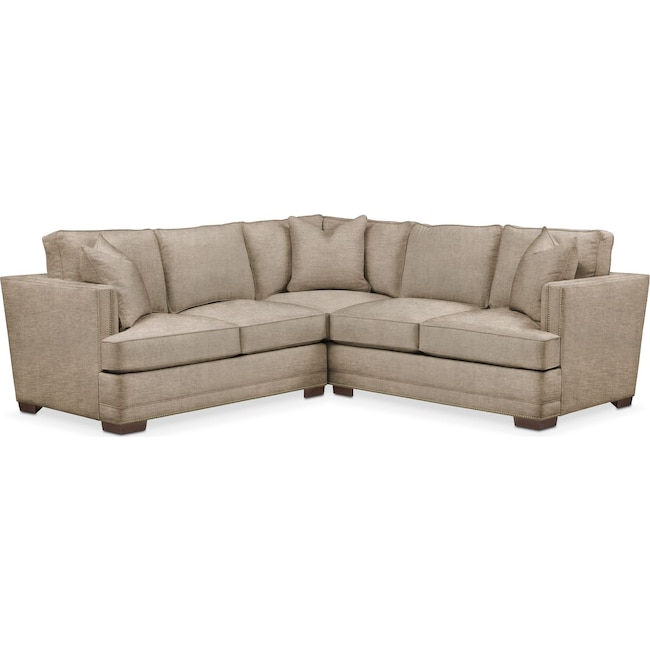 Living Room Furniture - Arden 2 Pc. Sectional with Left Arm Facing Loveseat- Cumulus in Dudley Burlap