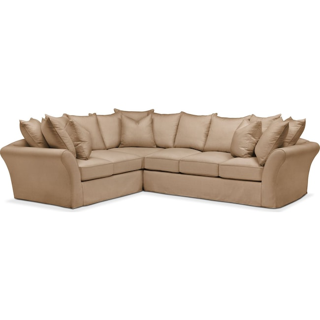 Living Room Furniture - Allison 2 Pc. Sectional with Right Facing Sofa- Comfort in Hugo Camel