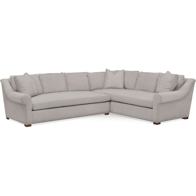 Living Room Furniture - Asher 2 Pc. Sectional with Left Arm Facing Sofa- Comfort in Dudley Gray
