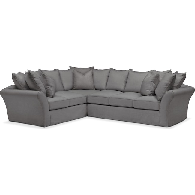 Living Room Furniture - Allison 2-Piece Sectional with Right-Facing Sofa - Comfort in Hugo Graphite
