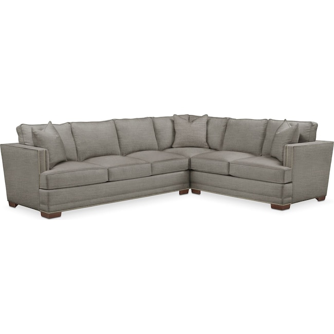 Living Room Furniture - Arden 2-Piece Sectional with Left-Facing Sofa - Cumulus in Victory Smoke