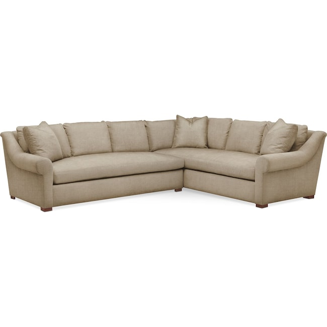 Living Room Furniture - Asher 2 Pc. Sectional with Left Arm Facing Sofa- Comfort in Milford II Toast