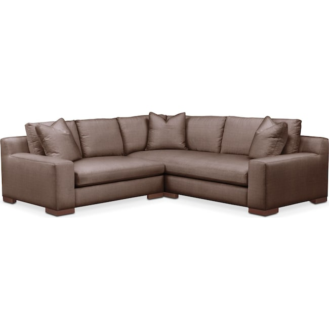 Living Room Furniture - Ethan 2 Pc. Sectional with Left Arm Facing Loveseat- Comfort in Oakley III Java