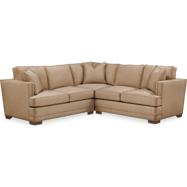 Living Room Furniture - Arden 2-Piece Sectional with Left-Facing Loveseat - Cumulus in Hugo Camel