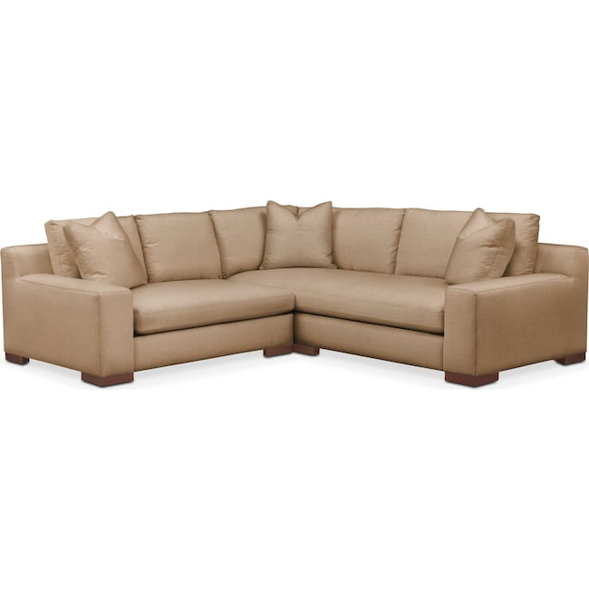 Living Room Furniture - Ethan 2 Pc. Sectional with Left Arm Facing Loveseat- Cumulus in Hugo Camel