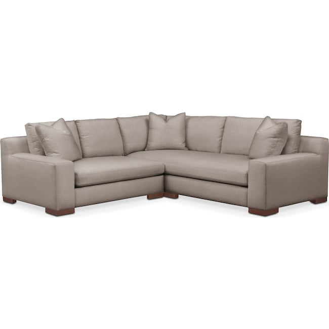 Living Room Furniture - Ethan 2 Pc. Sectional with Left Arm Facing Loveseat- Cumulus in Abington TW Fog