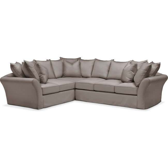 Living Room Furniture - Allison 2-Piece Sectional with Right-Facing Sofa - Comfort in Oakley III Granite