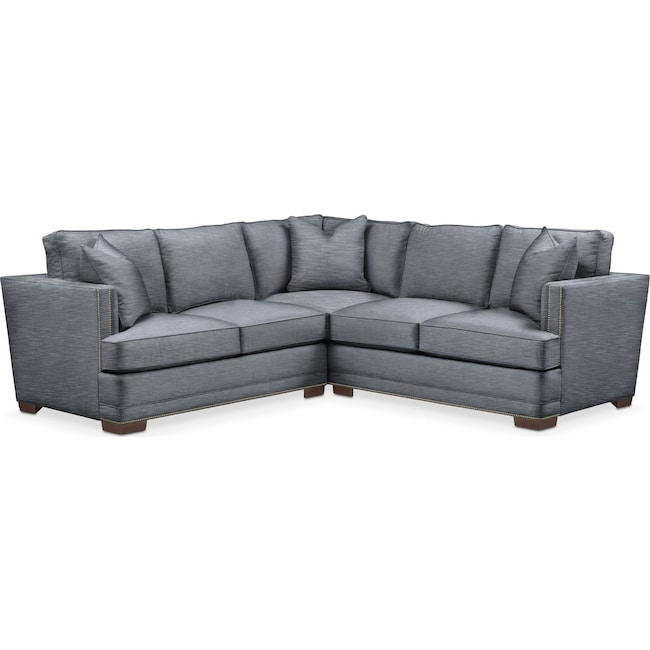Living Room Furniture - Arden 2 Pc. Sectional with Left Arm Facing Loveseat- Cumulus in Dudley Indigo