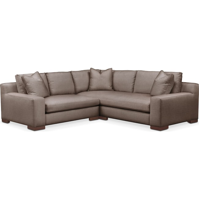 Living Room Furniture - Ethan 2 Pc. Sectional with Left Arm Facing Loveseat- Cumulus in Hugo Mocha
