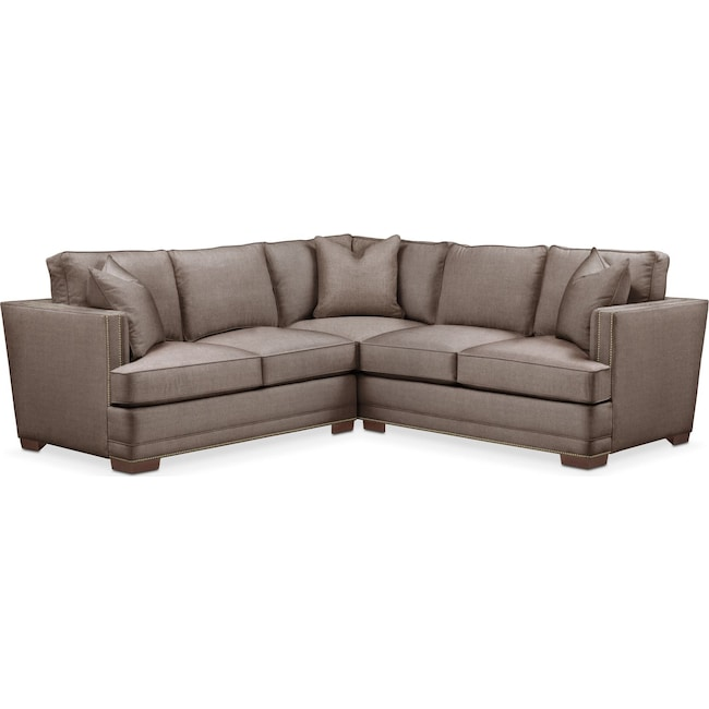 Living Room Furniture - Arden 2-Piece Sectional with Left-Facing Loveseat - Cumulus in Hugo Mocha