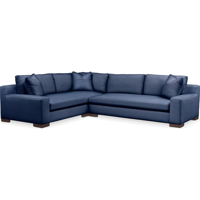 Living Room Furniture - Ethan 2 Pc. Sectional with Right Arm Facing Sofa- Cumulus in Abington TW Indigo