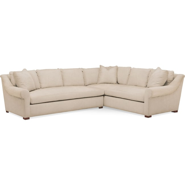 Living Room Furniture - Asher 2 Pc. Sectional with Left Arm Facing Sofa- Cumulus in Dudley Buff