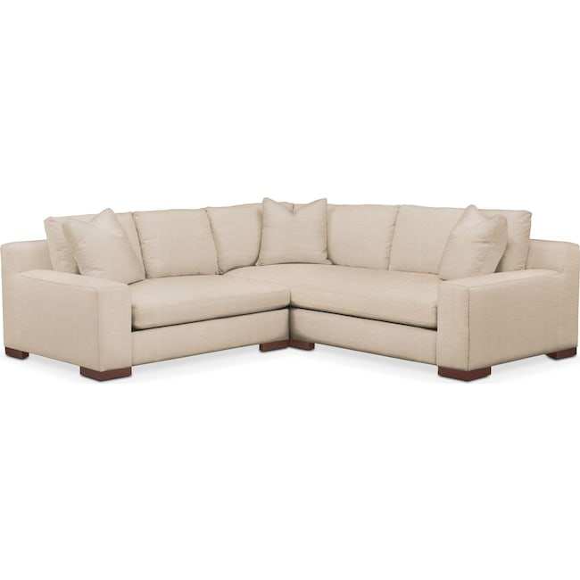 Living Room Furniture - Ethan 2-Piece Sectional with Left-Facing Loveseat - Cumulus in Dudley Buff