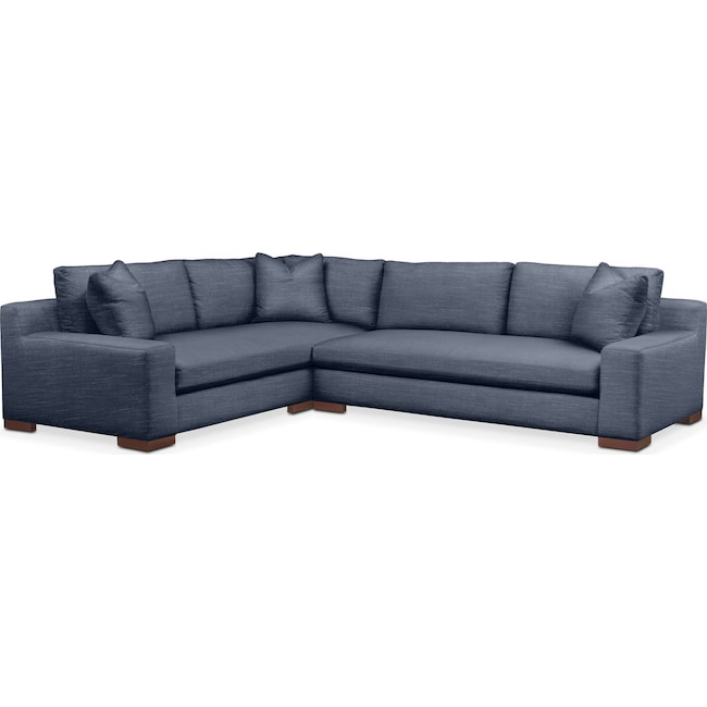 Living Room Furniture - Ethan 2 Pc. Sectional with Right Arm Facing Sofa- Comfort in Curious Eclipse