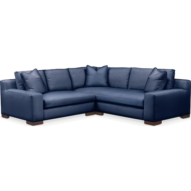 Living Room Furniture - Ethan 2 Pc. Sectional with Left Arm Facing Loveseat- Cumulus in Abington TW Indigo