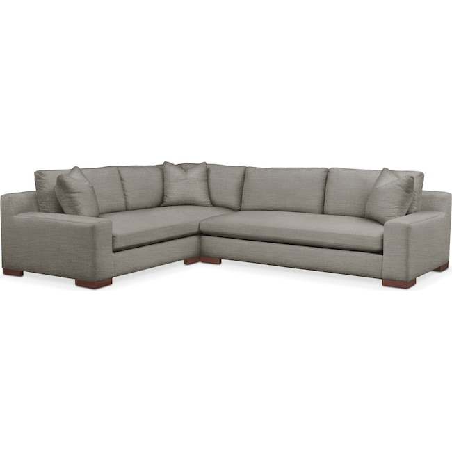 Living Room Furniture - Ethan 2 Pc. Sectional with Right Arm Facing Sofa- Comfort in Victory Smoke