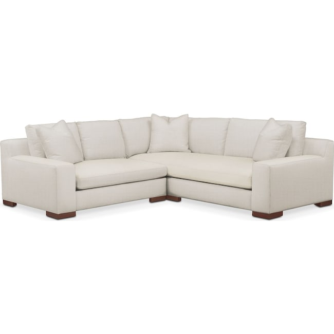 Living Room Furniture - Ethan 2 Pc. Sectional with Left Arm Facing Loveseat- Cumulus in Anders Ivory