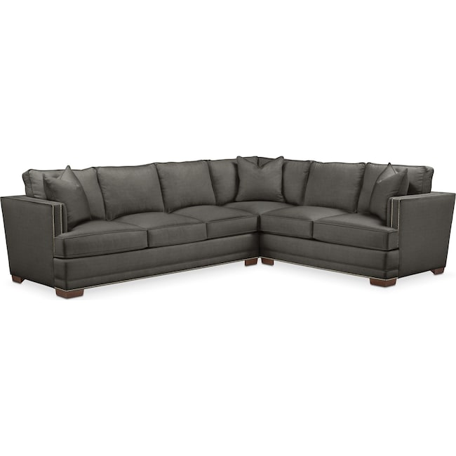 Living Room Furniture - Arden 2 Pc. Sectional with Left Arm Facing Sofa- Cumulus in Statley L Sterling