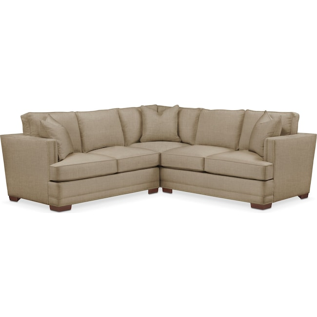Living Room Furniture - Arden 2 Pc. Sectional with Left Arm Facing Loveseat- Cumulus in Milford II Toast
