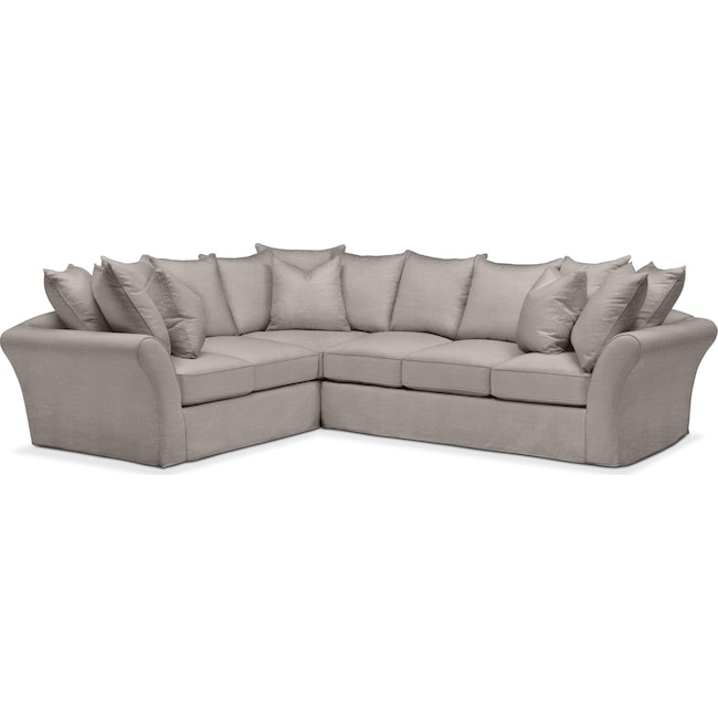 Living Room Furniture - Allison 2 Pc. Sectional with Right Facing Sofa- Comfort in Curious Silver Rine