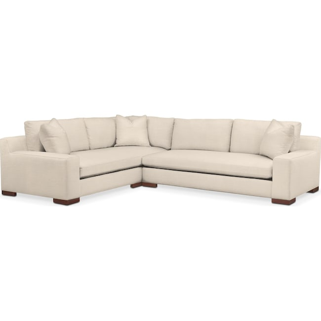 Living Room Furniture - Ethan 2 Pc. Sectional with Right Arm Facing Sofa- Comfort in Curious Pearl