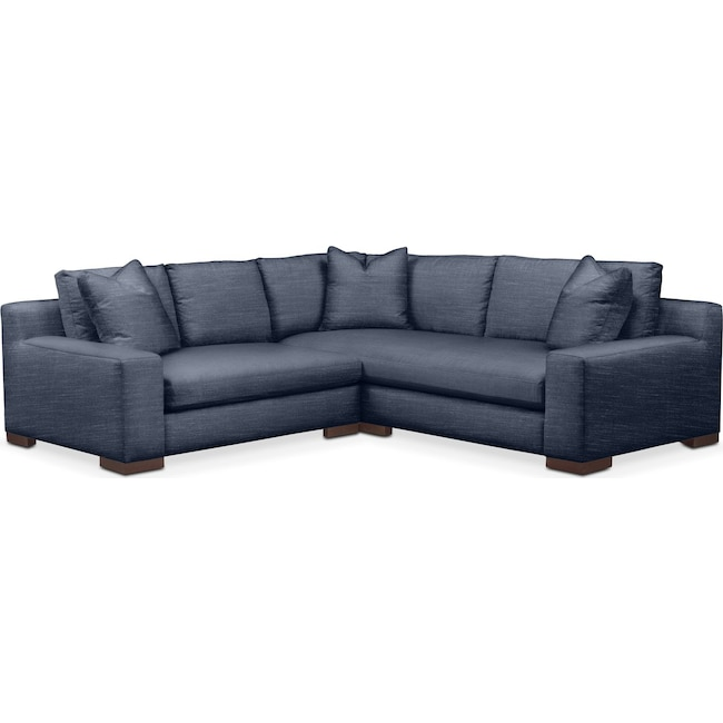 Living Room Furniture - Ethan 2 Pc. Sectional with Left Arm Facing Loveseat- Comfort in Curious Eclipse