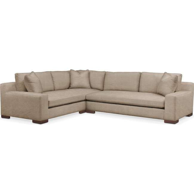 Living Room Furniture - Ethan 2 Pc. Sectional with Right Arm Facing Sofa- Cumulus in Dudley Burlap