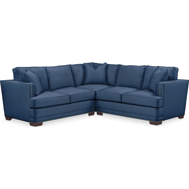 Living Room Furniture - Arden 2-Piece Sectional with Left-Facing Loveseat - Cumulus in Hugo Indigo