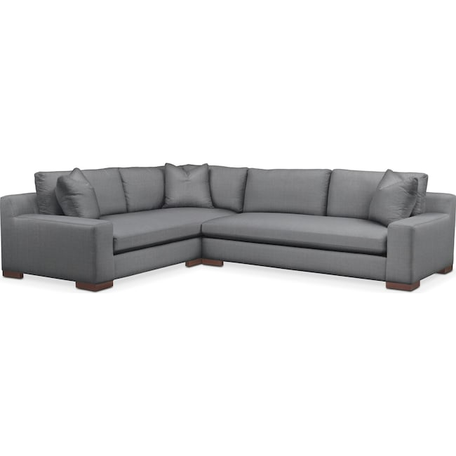 Living Room Furniture - Ethan 2-Piece Sectional with Right-Facing Sofa - Comfort in Depalma Charcoal