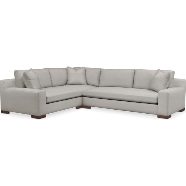 Living Room Furniture - Ethan 2-Piece Sectional with Right-Facing Sofa - Comfort in Dudley Gray