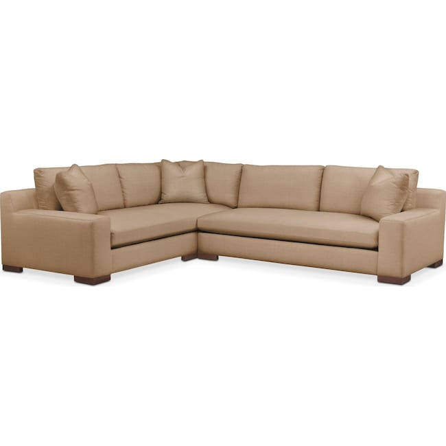 Living Room Furniture - Ethan 2 Pc. Sectional with Right Arm Facing Sofa- Comfort in Hugo Camel