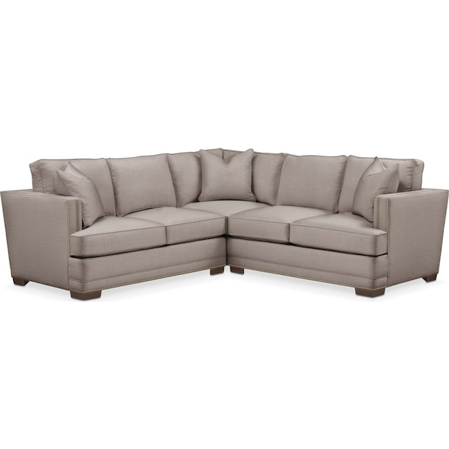 Living Room Furniture - Arden 2-Piece Sectional with Left-Facing Loveseat - Cumulus in Abington TW Fog