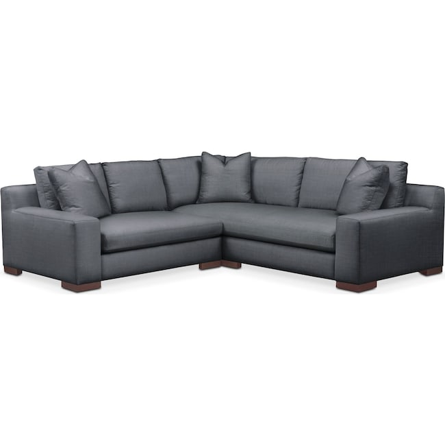 Living Room Furniture - Ethan 2 Pc. Sectional with Left Arm Facing Loveseat- Cumulus in Milford II Charcoal