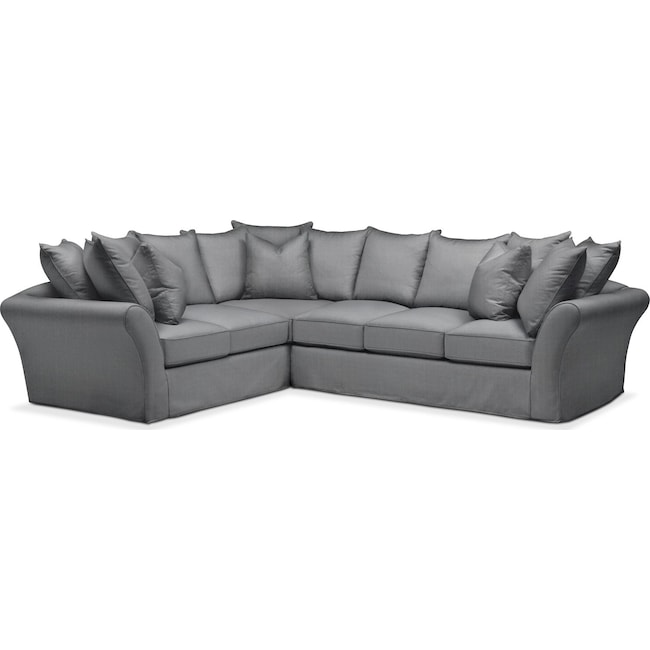 Living Room Furniture - Allison 2 Pc. Sectional with Right Facing Sofa- Comfort in Depalma Charcoal