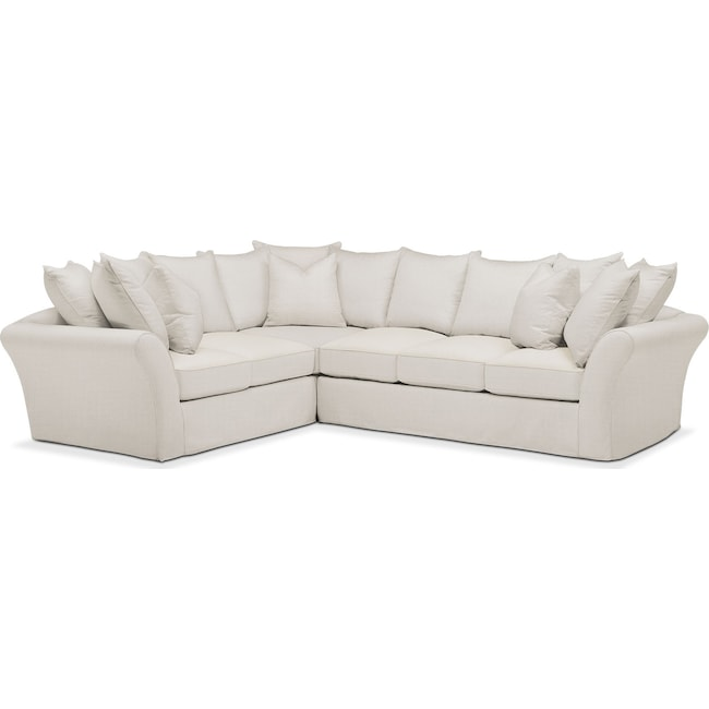 Living Room Furniture - Allison 2 Pc. Sectional with Right Facing Sofa- Comfort in Anders Ivory
