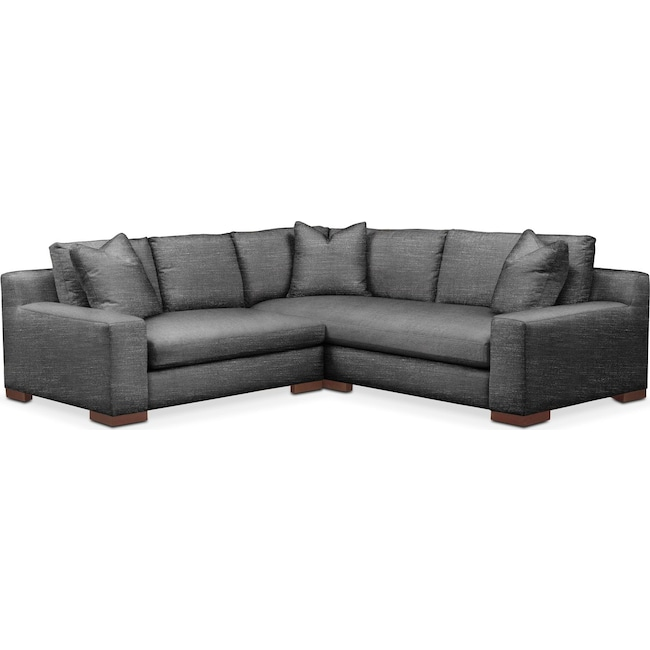 Living Room Furniture - Ethan 2 Pc. Sectional with Left Arm Facing Loveseat- Cumulus in Curious Charcoal