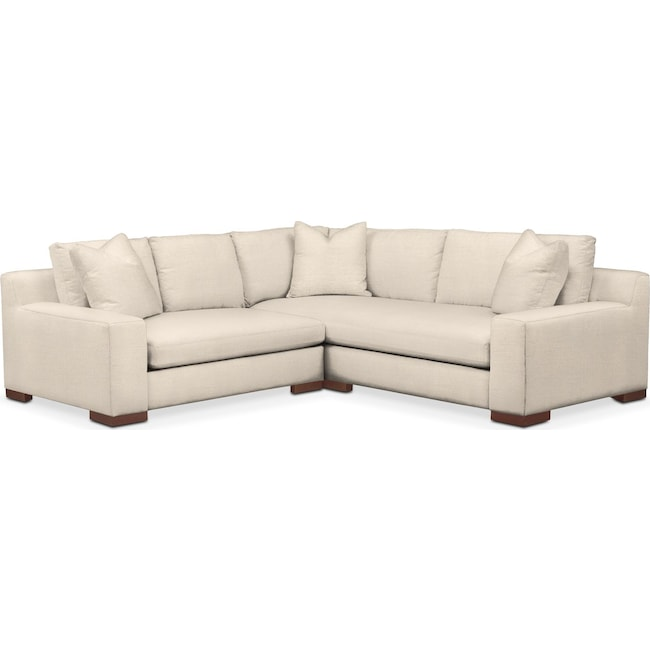 Living Room Furniture - Ethan 2 Pc. Sectional with Left Arm Facing Loveseat- Comfort in Curious Pearl